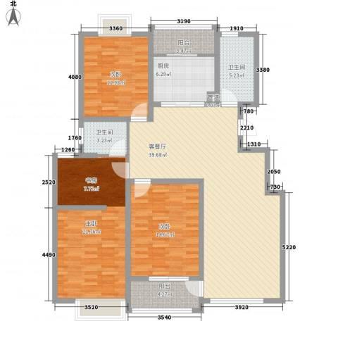春江花园三期3室1厅2卫1厨154.00㎡户型图