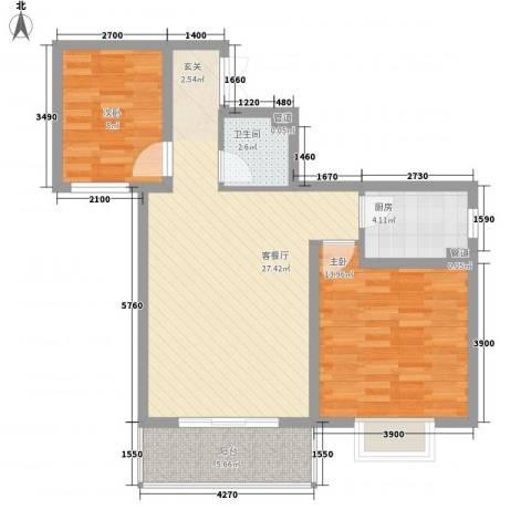 西城馨苑2室1厅1卫1厨90.00㎡户型图
