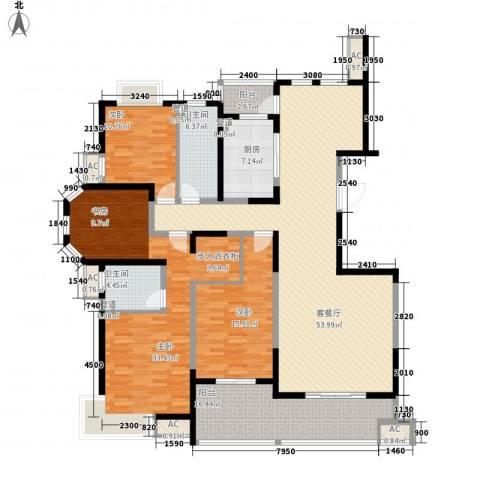 绿地世纪城3室1厅2卫1厨188.00㎡户型图