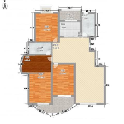春江花园三期3室1厅2卫1厨164.00㎡户型图