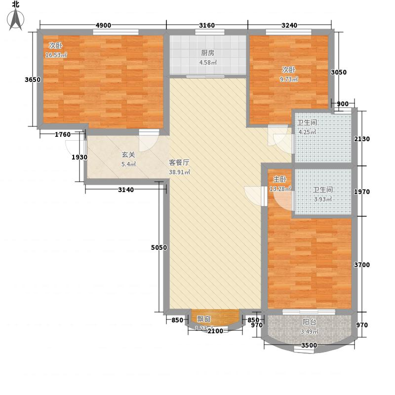 东方雅筑131.15㎡G户型3室2厅2卫