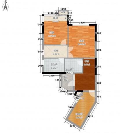 祥利上城3室0厅2卫0厨101.00㎡户型图