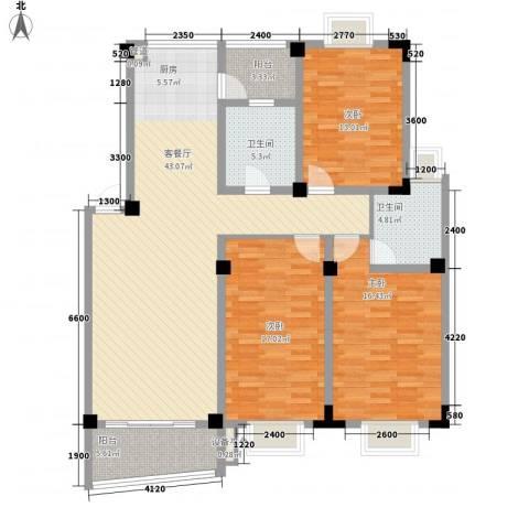 扬子佳竹苑3室1厅2卫0厨156.00㎡户型图