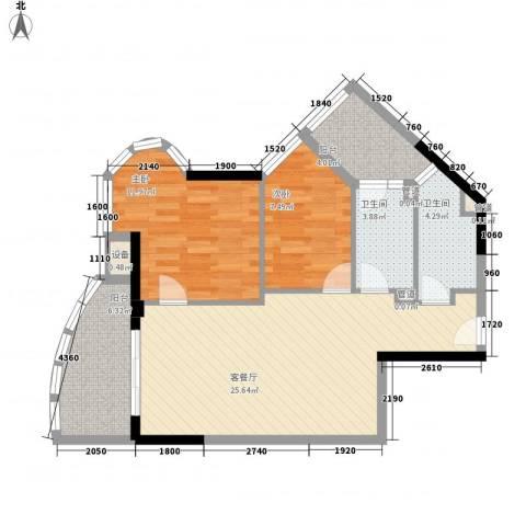 碧海蓝天三期2室1厅2卫0厨64.29㎡户型图