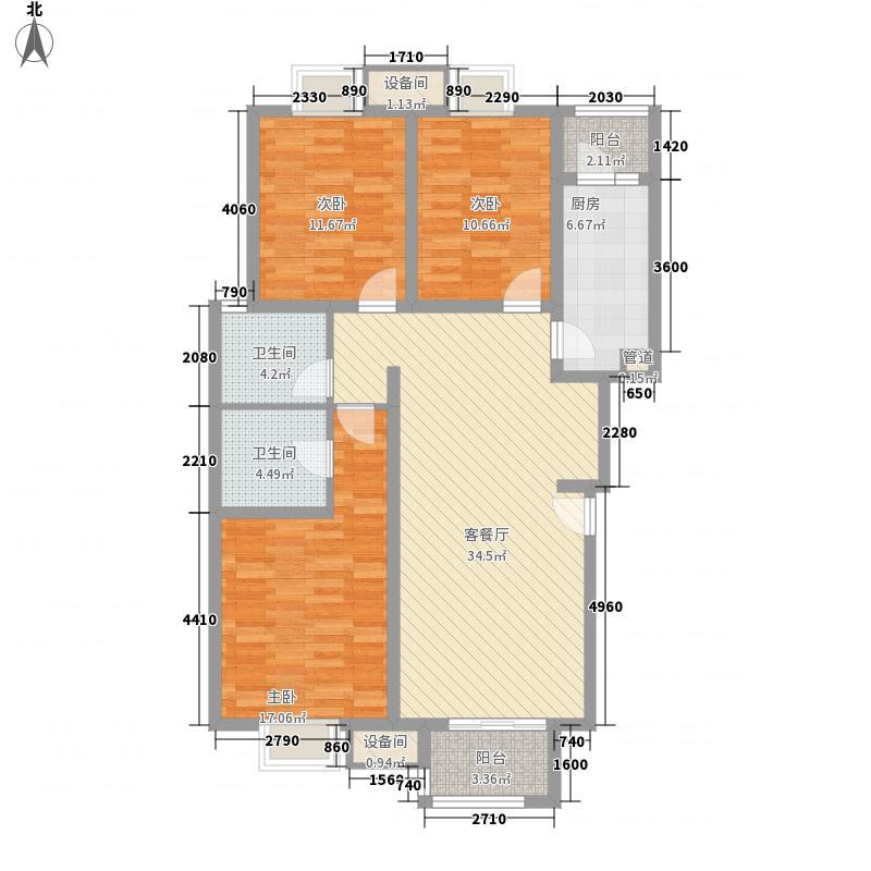 珠江御景128.00㎡日出印象户型3室2厅2卫1厨