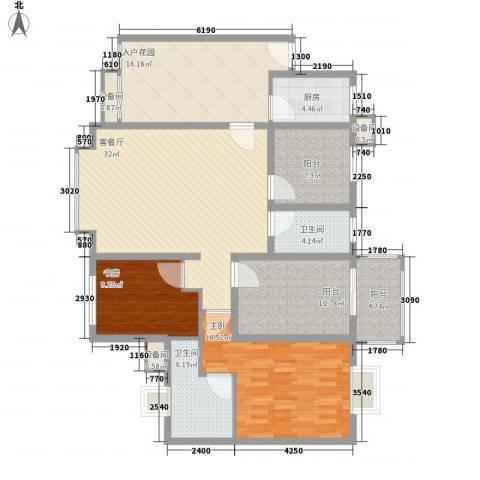 禹洲领海2室1厅2卫1厨117.00㎡户型图