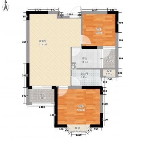 国光山水间2室1厅1卫1厨74.00㎡户型图