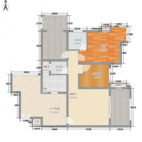 禹洲领海1室1厅2卫1厨104.15㎡户型图