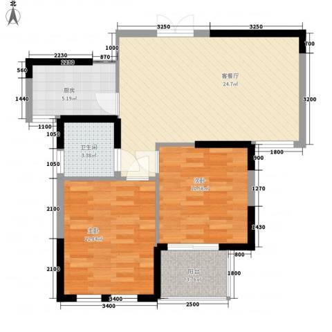 恬静园2室1厅1卫1厨110.00㎡户型图