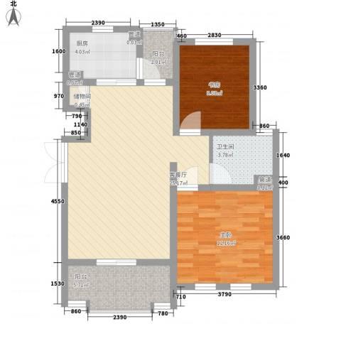 尚东国际名园2室1厅1卫1厨90.00㎡户型图
