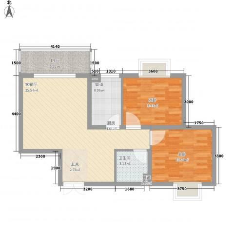 西城馨苑2室1厅1卫1厨85.00㎡户型图