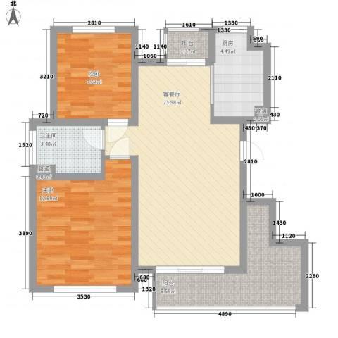 太湖相王府2室1厅1卫1厨90.00㎡户型图