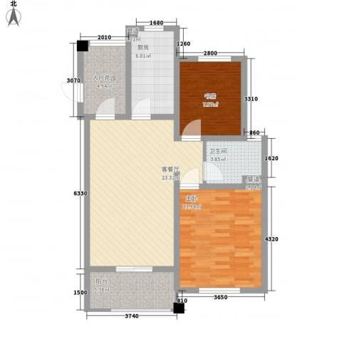 尚东国际名园2室1厅1卫1厨95.00㎡户型图