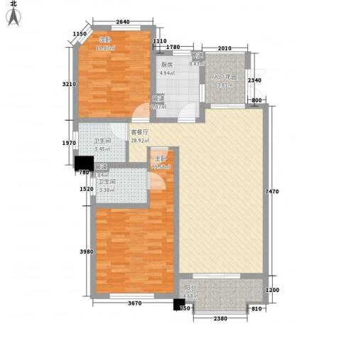 尚东国际名园2室1厅2卫1厨112.00㎡户型图