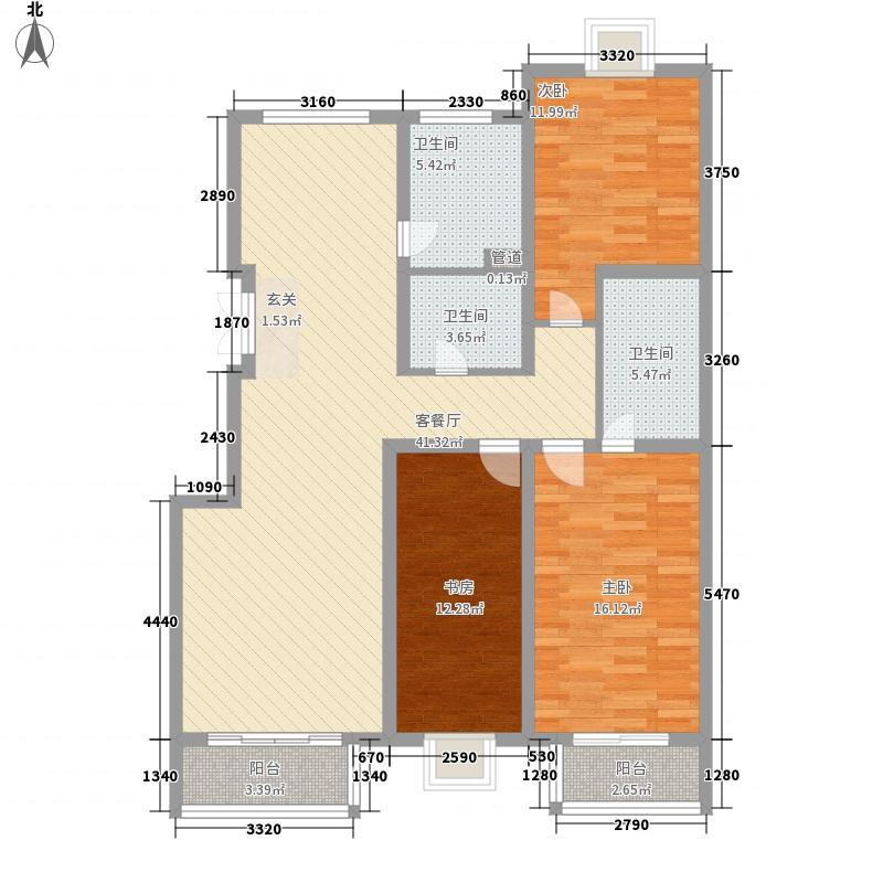白领家园146.93㎡D户型3室2厅2卫1厨