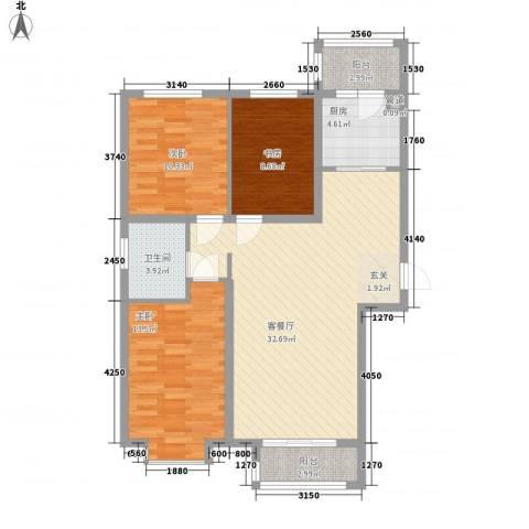 新约克小镇3室1厅1卫1厨113.00㎡户型图