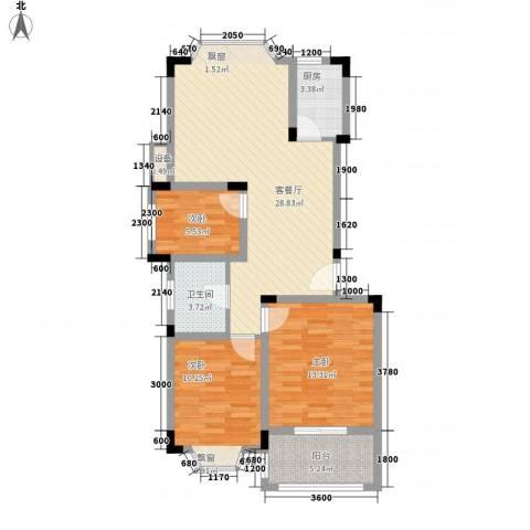 国光山水间3室1厅1卫1厨86.00㎡户型图