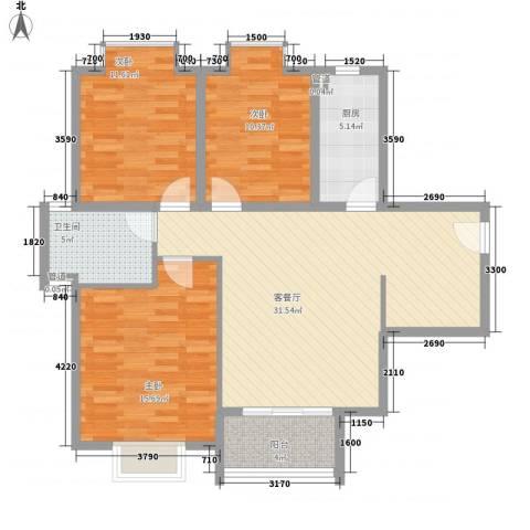 翠屏湾2期兰卡威小镇3室1厅1卫1厨111.00㎡户型图