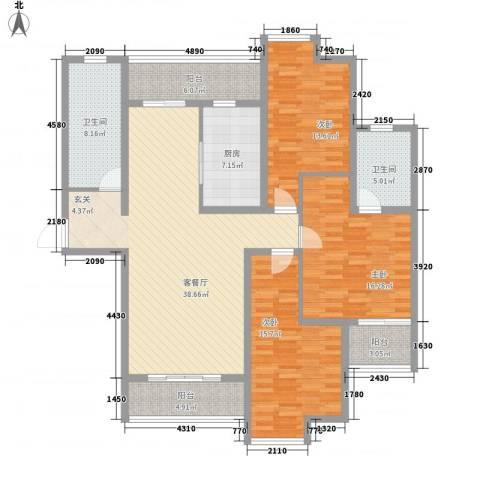 捷瑞公园首府3室1厅2卫1厨170.00㎡户型图