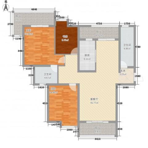 捷瑞公园首府3室1厅2卫1厨172.00㎡户型图