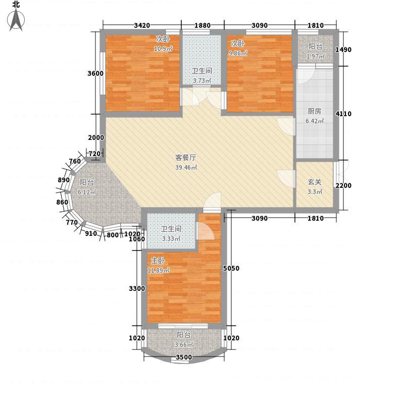 东方雅筑128.60㎡1#D户型3室2厅1卫