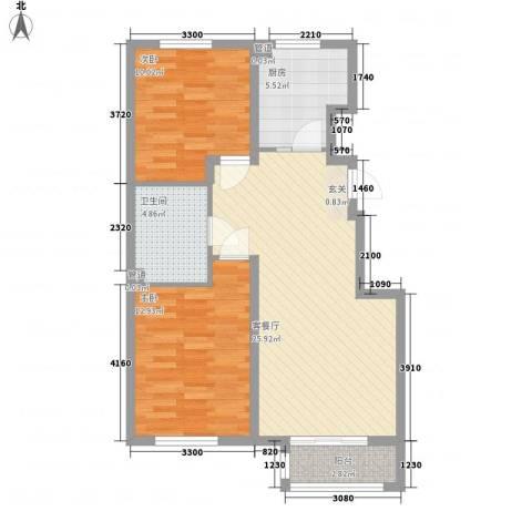 新约克小镇2室1厅1卫1厨88.00㎡户型图