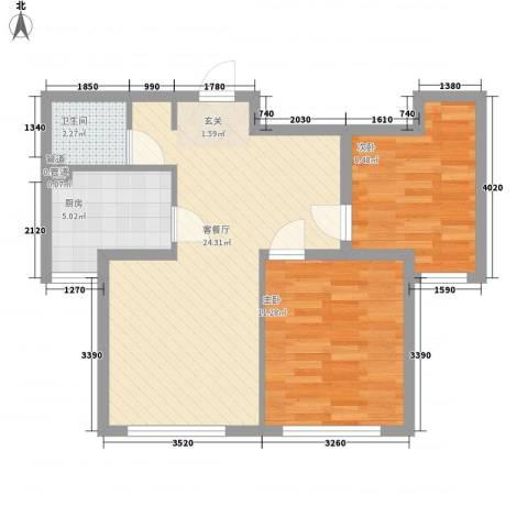 新约克小镇2室1厅1卫1厨73.00㎡户型图
