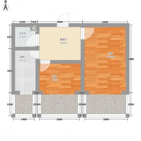 珍珠湖家园2室1厅1卫1厨56.00㎡户型图