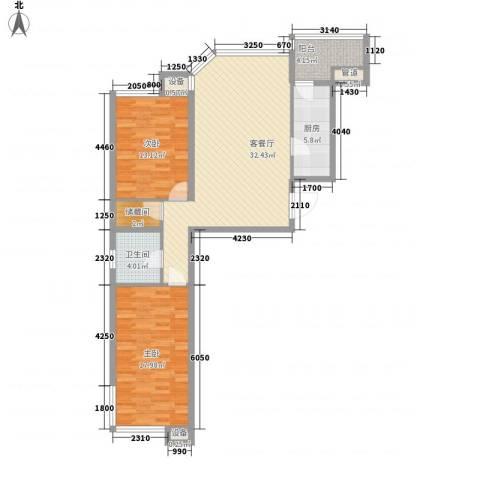 水韵名城2室1厅1卫1厨80.86㎡户型图