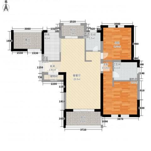 古北御庭2室1厅2卫1厨106.00㎡户型图