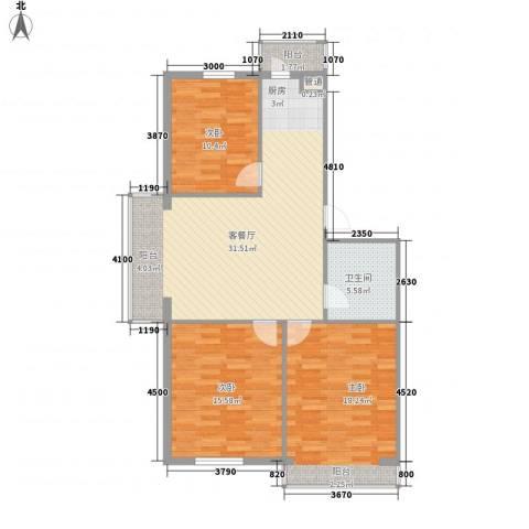 珍珠湖家园3室1厅1卫0厨113.00㎡户型图