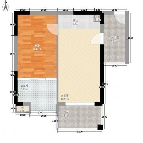 凤凰水城红树湾1室1厅1卫0厨56.00㎡户型图