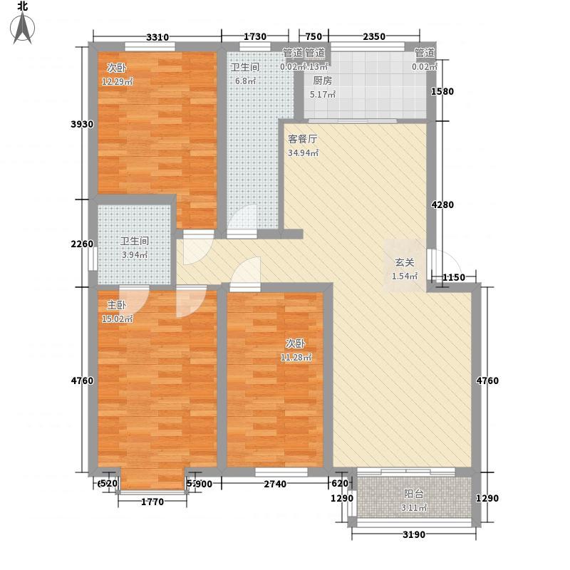 新约克小镇132.00㎡206#D户型3室2厅2卫
