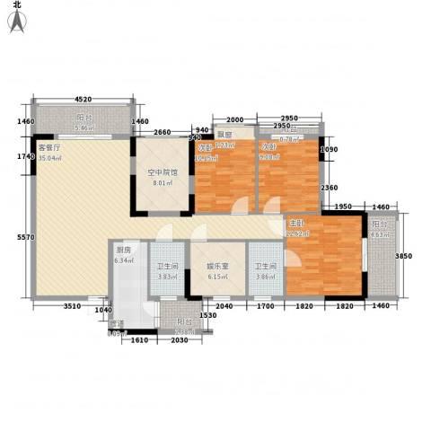 睿力上城3室1厅2卫1厨143.00㎡户型图