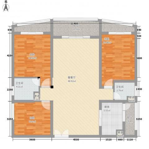 宝安滨海豪庭3室1厅2卫1厨137.00㎡户型图