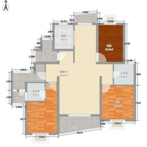 金梅雅苑3室1厅2卫1厨152.00㎡户型图