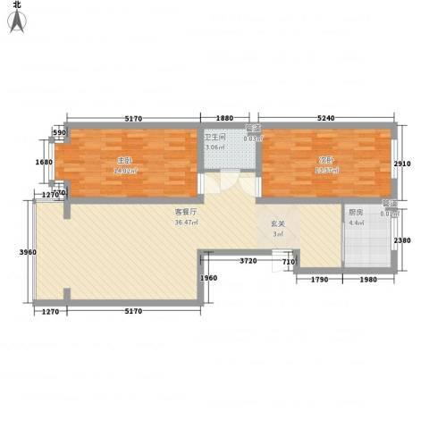 金华学府2室1厅1卫1厨101.00㎡户型图