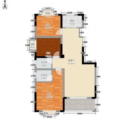 国光山水间3室1厅2卫1厨105.00㎡户型图