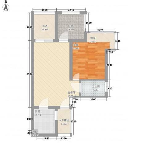 竹悦山水1室1厅1卫1厨67.00㎡户型图