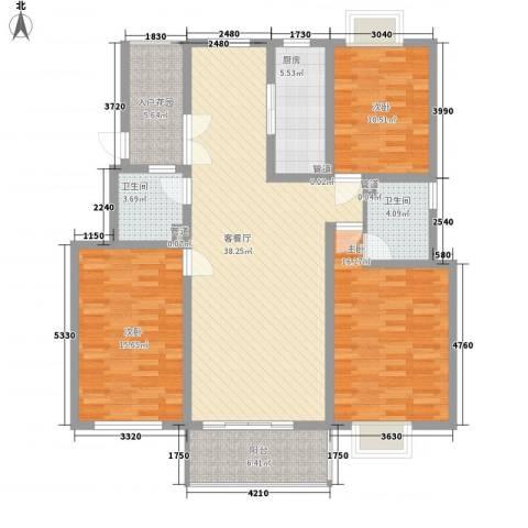 壹度恒园3室1厅2卫1厨121.35㎡户型图