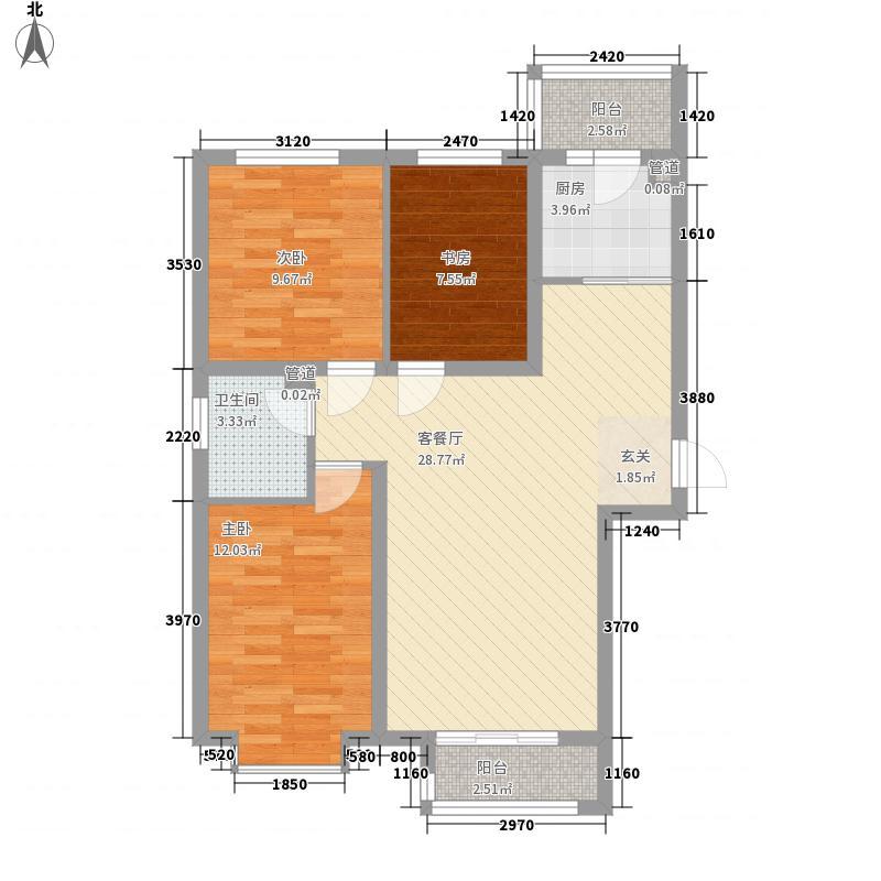 新约克小镇户型图F户型 3室2厅1卫1厨