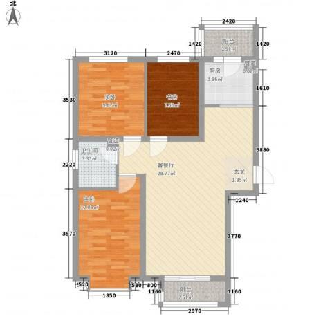 新约克小镇3室1厅1卫1厨103.00㎡户型图
