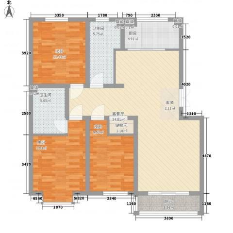 新约克小镇3室1厅2卫1厨127.00㎡户型图