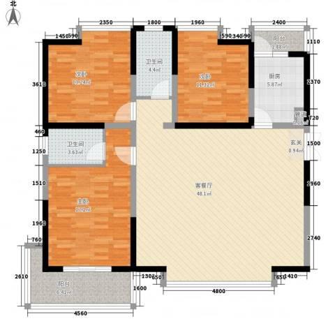 兰亭坊3室1厅2卫1厨151.00㎡户型图