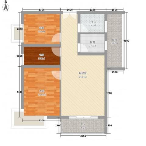 京仕柏豪庭3室0厅1卫1厨90.00㎡户型图