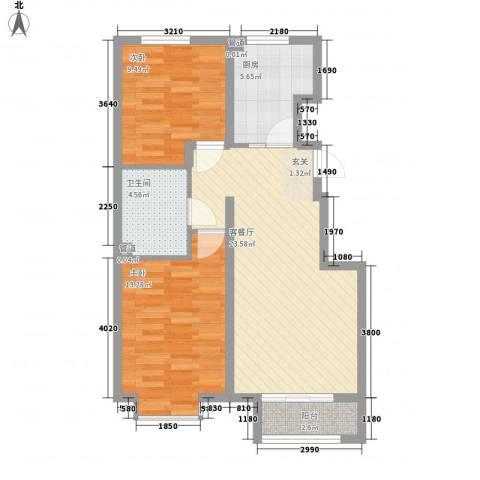 新约克小镇2室1厅1卫1厨85.00㎡户型图