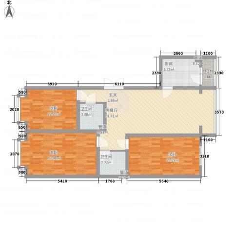 金华学府3室1厅2卫1厨129.00㎡户型图