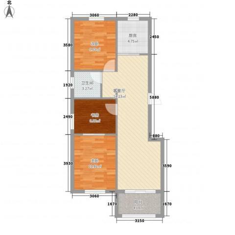 香阁里拉花园3室1厅1卫1厨90.00㎡户型图