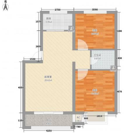 绿茵港湾2室0厅1卫1厨84.00㎡户型图