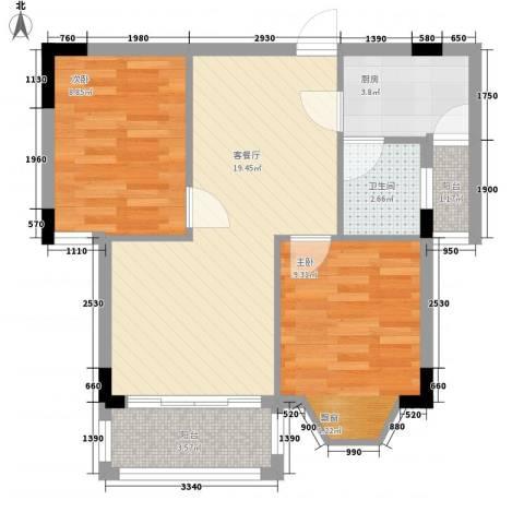 瘦西湖华庄2室1厅1卫1厨70.00㎡户型图